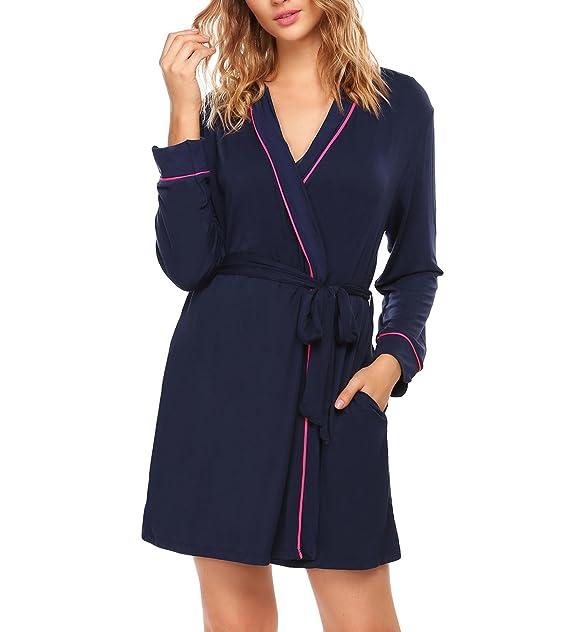 TelDen Women s Kimono Robe Soft Short Cotton Bathrobe for Bride and  Bridesmaid 2cf91256d