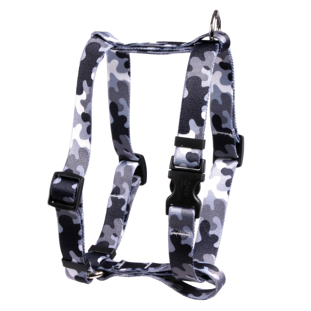 Yellow Dog Design Black and White Camo Roman Style H Dog Harness, Large
