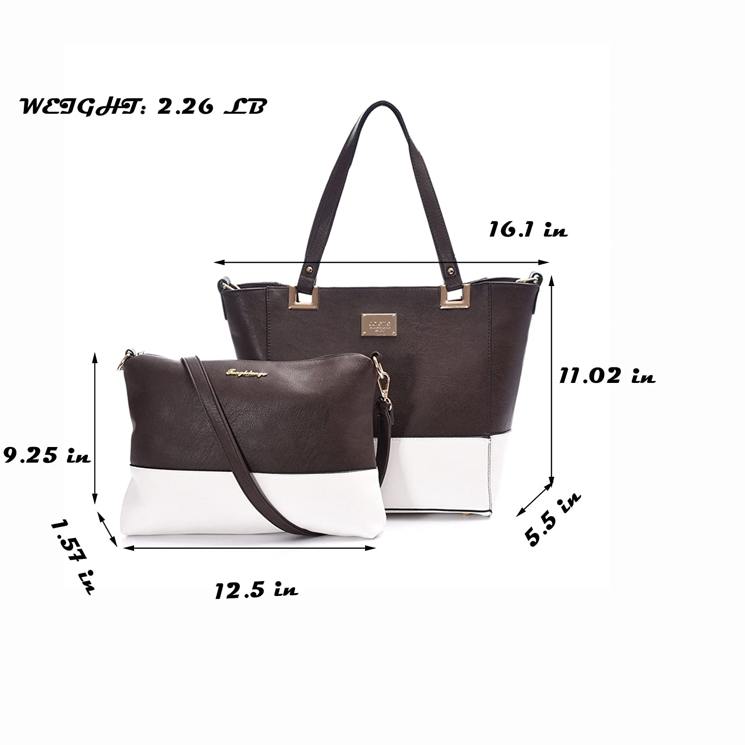 Amazon.com  Leather Handbag Women Shoulder Tote Bag Business Shopper Purse  Day Pack With Small Cross Body Pouch  Computers   Accessories 7d4757a5a2121