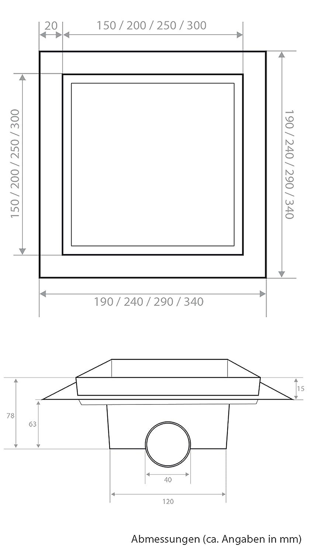 Vilstein Receveur de douche VS-DB03-15B Siphon de sol et /écoulement argent Carr/é inclinable 30 x 30 cm
