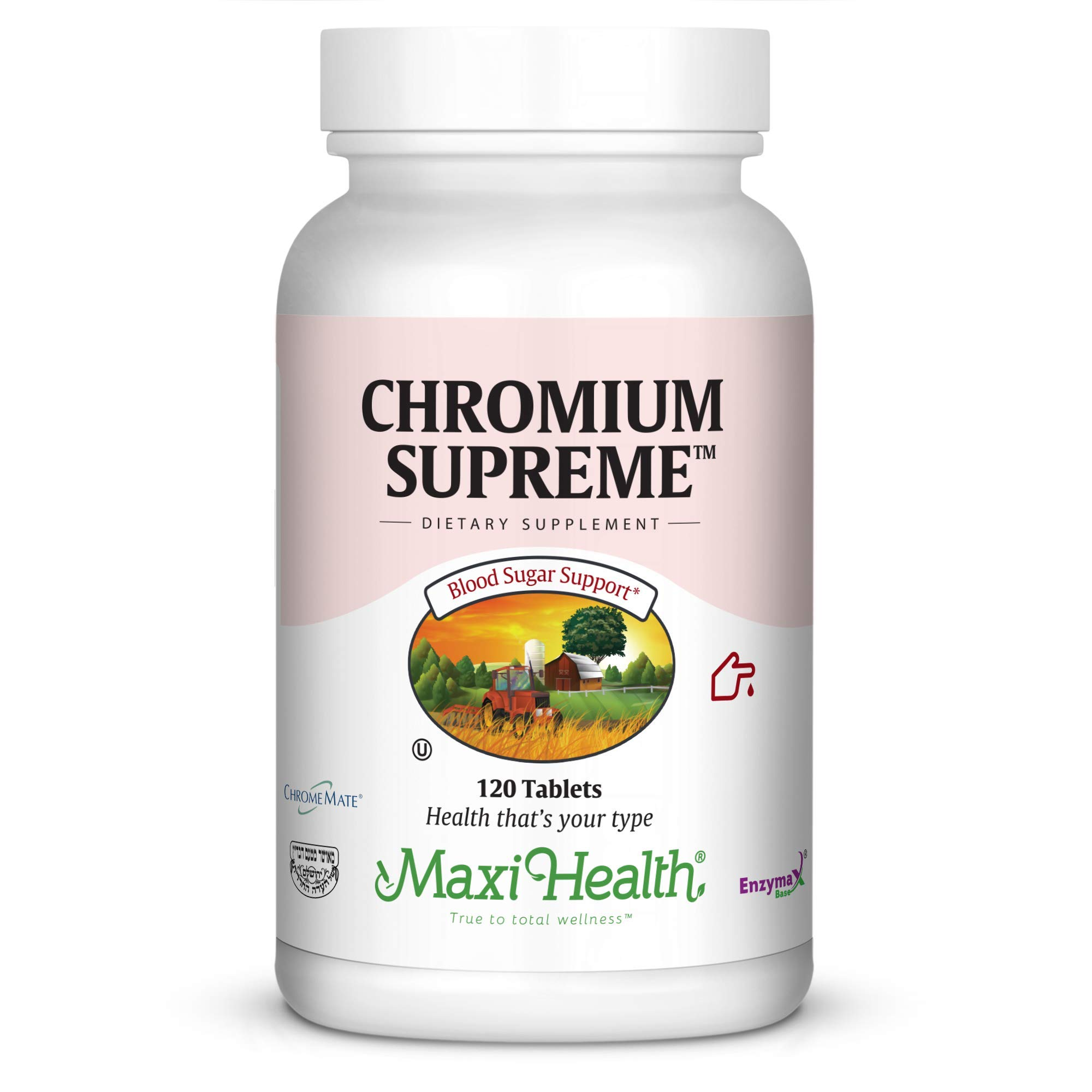Maxi Health Chromium Polynicotinate Supreme -''200 mcg'' - Blood Sugar Formula - 120 Tablets - Kosher by Maxi Health