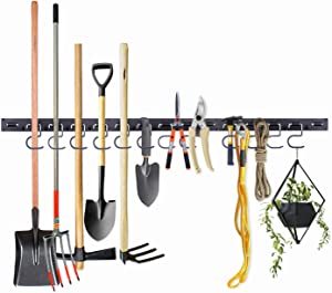 NZACE Adjustable Storage System 48 Inch, Wall Holders for Tools, Wall Mount Tool Organizer, Garage Organizer, Garden Tool Organizer, Garage Storage,Heavy Duty Tools Hanger with 3 Rails 12 Hooks