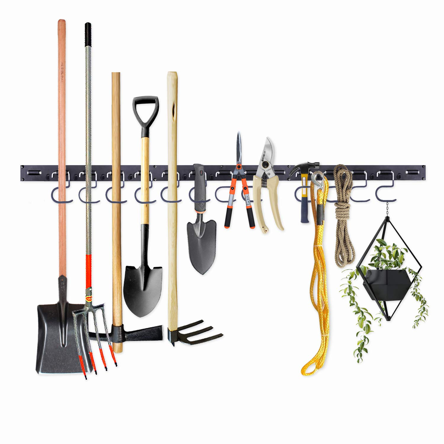 Adjustable Storage System 48 Inch, Wall Holders for Tools, Wall Mount Tool Organizer, Garage Organizer, Garden Tool Organizer, Garage Storage by NZACE