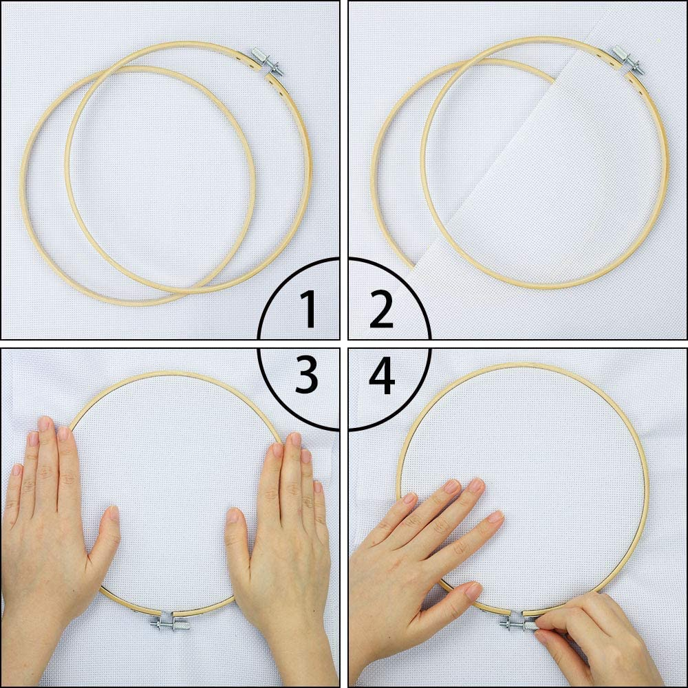 6 Pieces 3 Inch Embroidery Hoops Bamboo Circle Adjustable Wood Round Circle Cross Stitch Hoop Ring for Art Craft Handy Sewing
