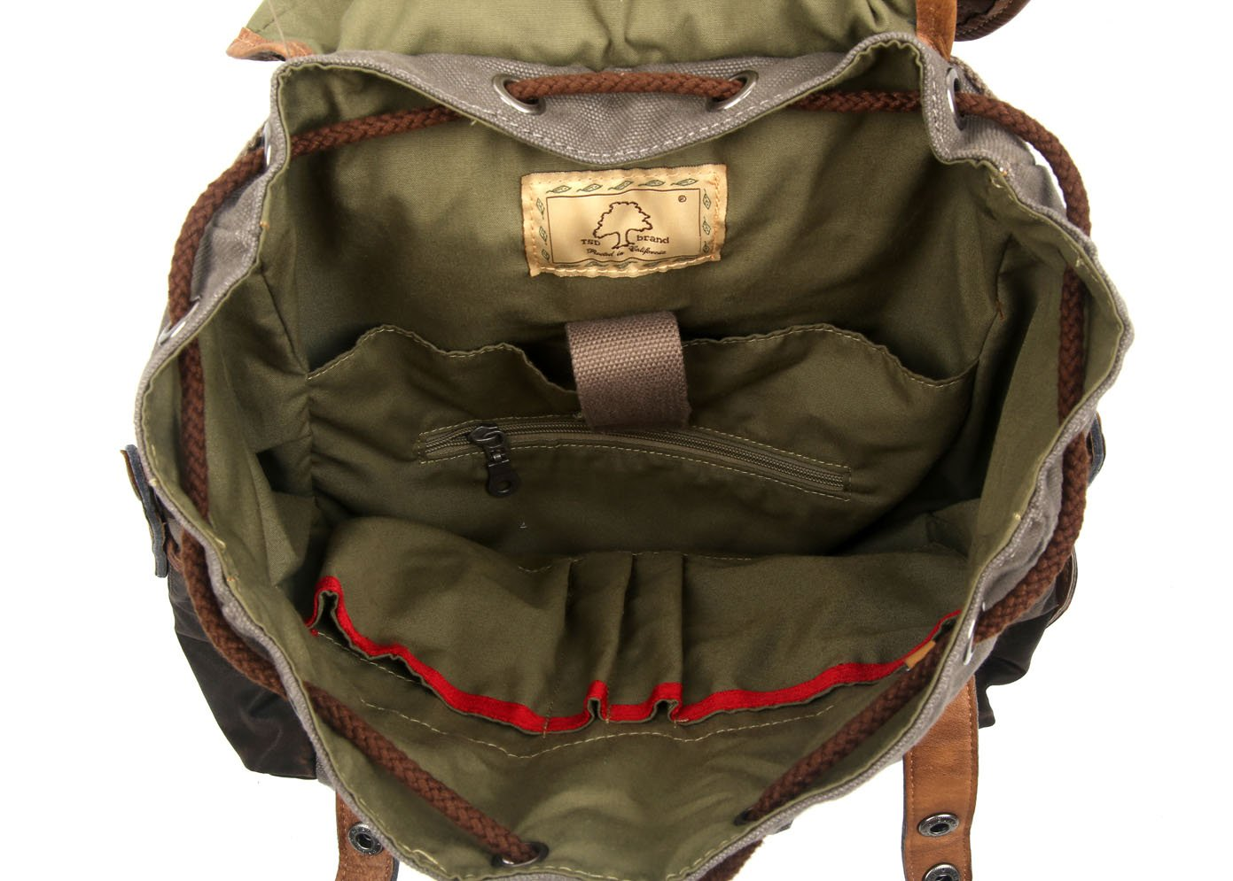 The Same Direction Tapa Two Tone Canvas Backpack Leather and Canvas Bag (Grey) by The Same Direction (Image #4)