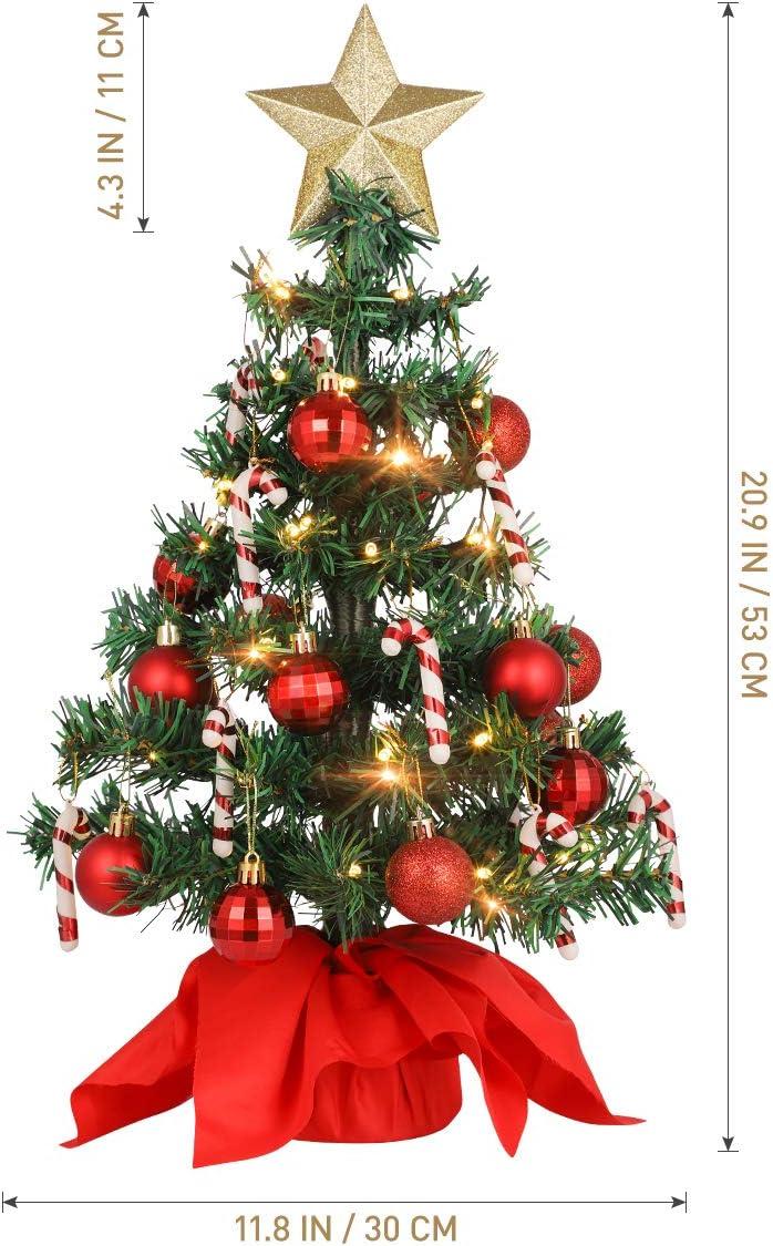 VALICLUD Mini sapin de No/ël artificiel de table avec ornements et guirlande LED Guirlande lumineuse /Étoile arbres Rouge Boule de No/ël D/écoration de table de bureau pour fournitures de f/ête /à la maison