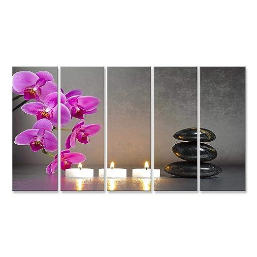 islandburner Cuadro Cuadros Impresión sobre Lienzo - Formato Grande - Cuadros Modernos Agua de Las Piedras de Zen Yoga Relax