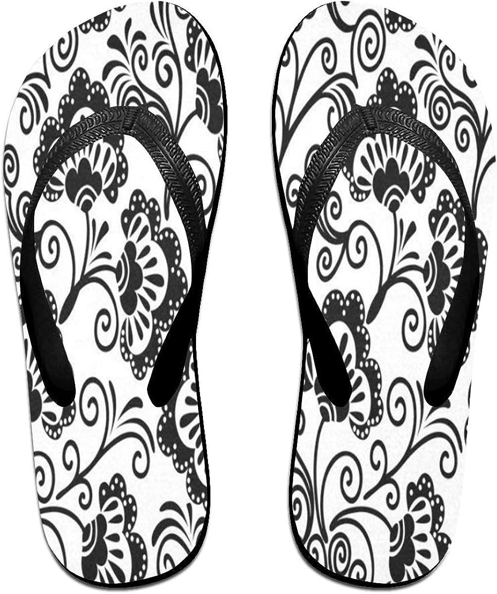 Flip Flops Black Damask Floral Womens Indoor Slippers Top Sandals for Teen