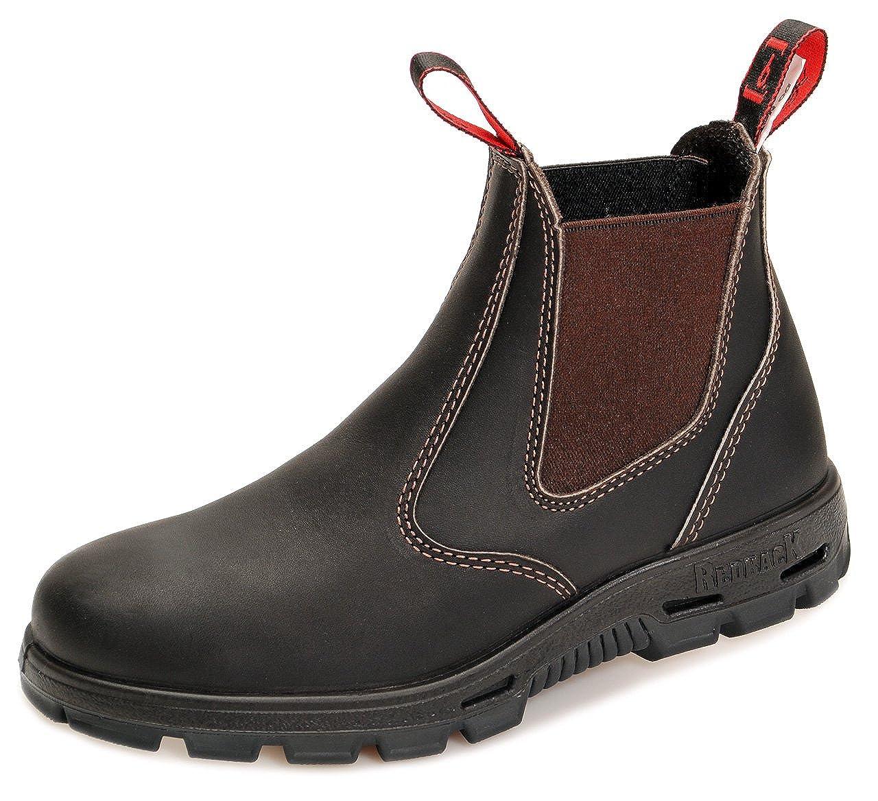 Redback BUBOK Offroad Chelsea Boots - Arbeitsschuhe Work Boots Aus Australien - Unisex - Claret Brown | Schwarze Sohle | Black Sole