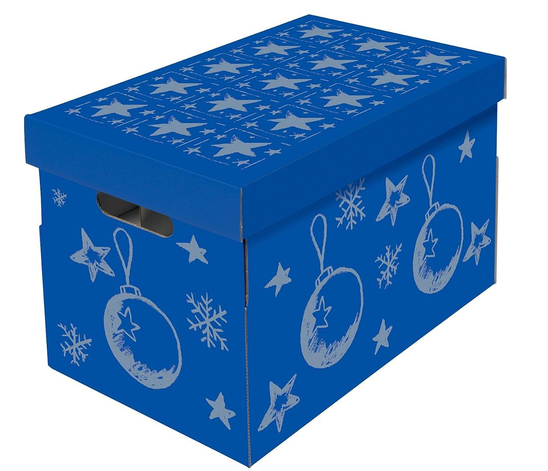 NIPS 119201142 CHRISTMAS Aufbewahrungsbox fü r Christbaumkugeln und Weihnachtsdeko mit variabler Innenaufteilung auf 3 Ebenen, B 27,5 x T 46,5 x H 29,5 cm, blau / silber - 2er Pack NIPS Ordnungssysteme GmbH 119198142