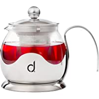 Andrew James Teapot with Infuser in Glass & Stainless Steel | Large 750ml Tea Pot for Loose Leaf Fruit or Herbal Infusions with Fine Mesh Diffuser Strainer