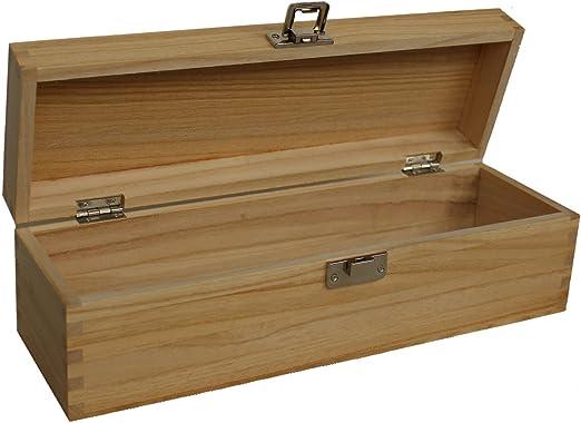 Sola botella claro barniz con bisagras caja de vino de madera con tapa regalo: Amazon.es: Hogar
