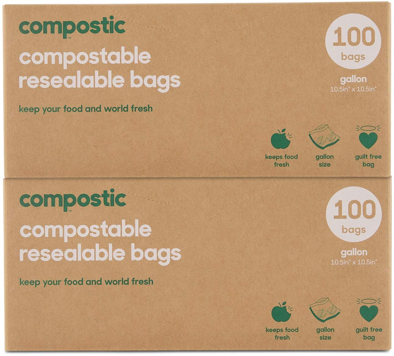 Compostic Home Compostable Resealable Gallon Bags - Eco Friendly, Reusable, Zero Waste, Non-Toxic, Guilt-Free - Plastic Alternative for Earth Friendly Food Storage - (10.5