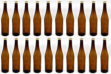 guoveo - 20 botellas de zumo de 700 ml con tapón de rosca dorado, botellas