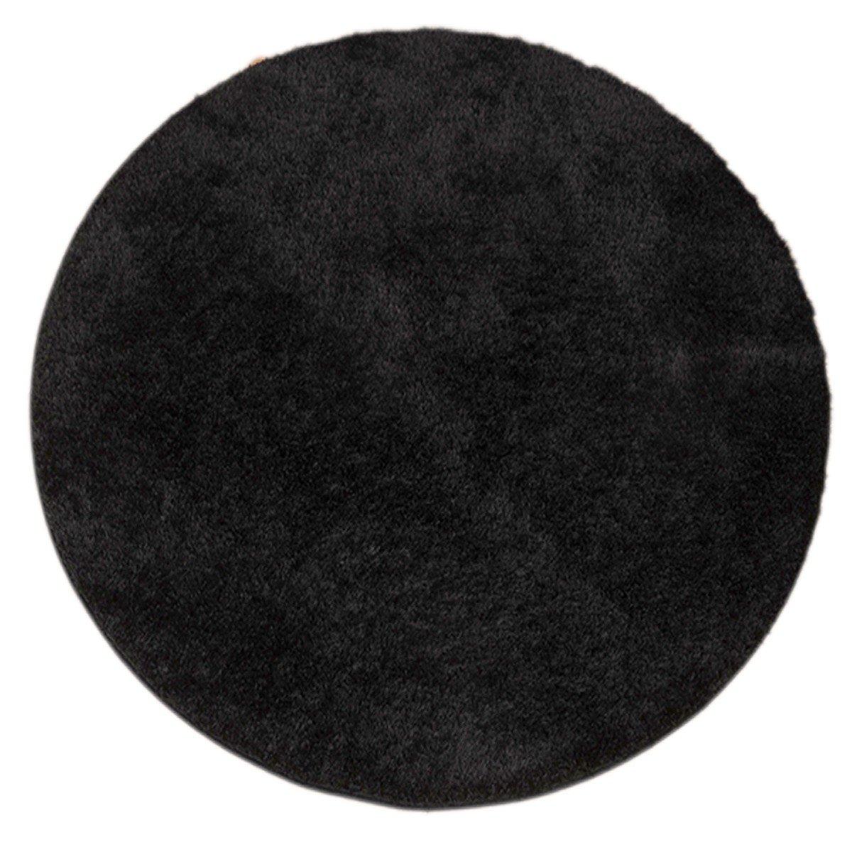 Havatex Premium Shaggy Hochflor Teppich LoROTo rund - schadstoffgeprüft und pflegeleicht   schmutzresistent robust strapazierfähig   Wohnzimmer Schlafzimmer Flur, Farbe Schwarz, Größe 200 cm rund