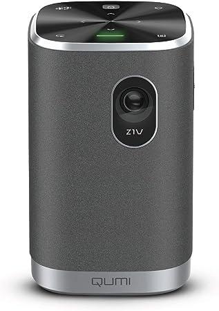 Vivitek Qumi Z1v Kompakter Projektor Taschenprojektor Mit Bluetooth Lautsprecher Led Beamer Wlan Integrierter Akku 250 Lumen 854x480 Pixel Bis 75 Diagonale Hdmi Usb Microsd Slot Heimkino Tv Video