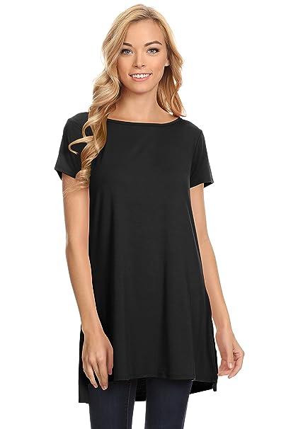 5b91643c21c Womens Solid Side-Slit Short Sleeve and Sleeveless Round Neck Tunic ...