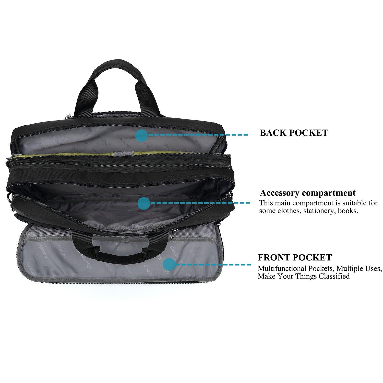 DTBG Laptop Bag Convertible Backpack Messenger Bag Nylon Shoulder Bag Men Women Business Briefcase Travel Rucksack with Side Handbag and Shoulder Strap Fits 17.3 Inches Laptop and Notebook (Black) by DTBG (Image #5)
