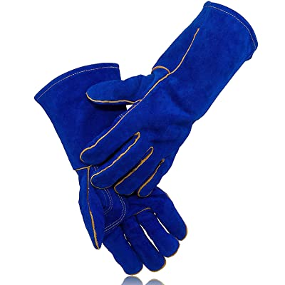 KIM YUAN Extreme Heat/Fire Resistant Gloves Leather with Kevlar Stitching, Mitts Perfect for Welding/Oven/Grill/BBQ/Mig/Fireplace/Stove/Pot Holder/Tig Welder/Animal Handling, (14in-blue) [5Bkhe1408348]