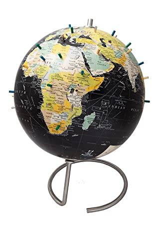 High Quality Bullseye Office   10u0026quot; Black Magnetic Standing World Globe With  Magnetic Pins   Perfect As