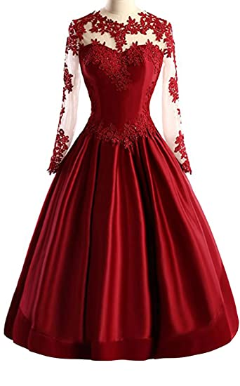 Stillluxury Tea Length Prom Dresses with Long Sleeves Midi Satin Evening Ball Gown Appliques Dark Red
