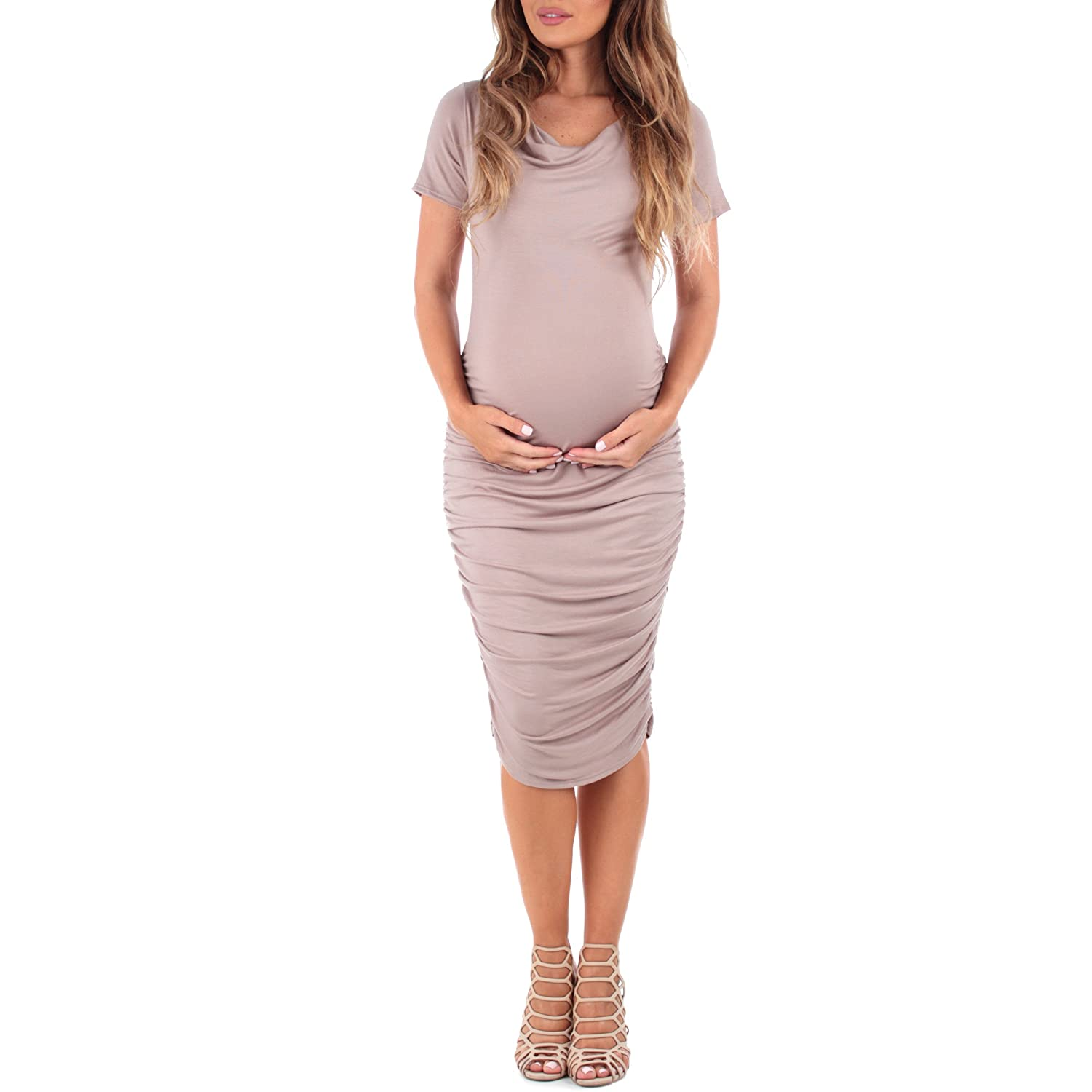 b67e9ccbe0ec This dress features a superbly soft and strechy rayon spandex material  which is perfect for a growing belly and soon to be nursing mother.