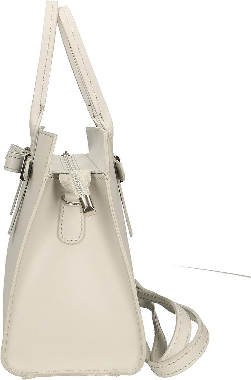 Roberta Rossi Viviana sac à la main con due manici classique fashion Tote femme cuir véritable vachette 30x22x13 700 gr made Italy RR33ST32CGLSLV_P Grey