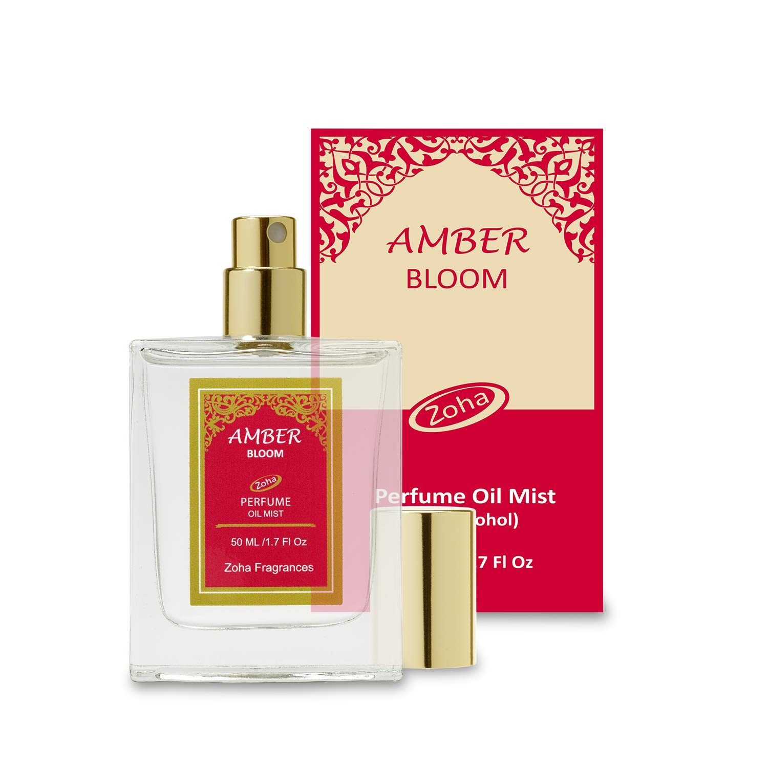 Amber Bloom Perfume Oil Mist (No Alcohol) Amber Oil Fragrance - Essential Oils and Perfumes for Women and Men by Zoha Fragrances, 50 ml / 1.7 fl Oz