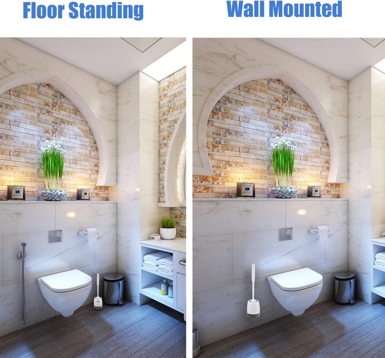 Grigio Braoses Scopino per WC e Porta scopino 2 in 1 per pavimentazione a Parete in Silicone Set di spazzole per la Pulizia del Bagno e Servizi igienici ad Asciugatura Rapida