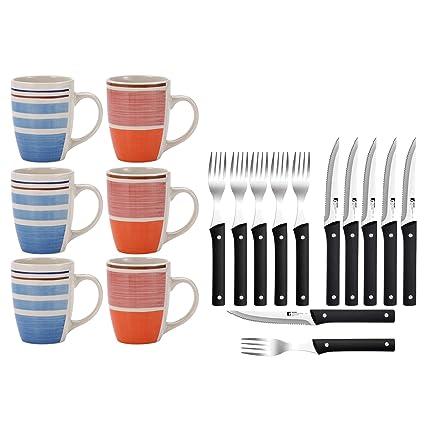 Renberg Pk1178 Set Hogar Cocina 6 Mugs Y 12 Piezas Cubertería, Negro