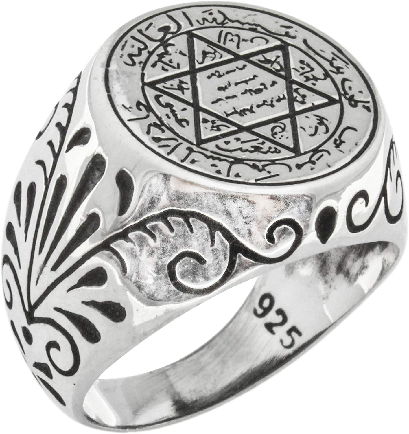 Seal of Solomon Talisman Special Design Islamic 925 Sterling Silver Turkish Handmade Solid Ring