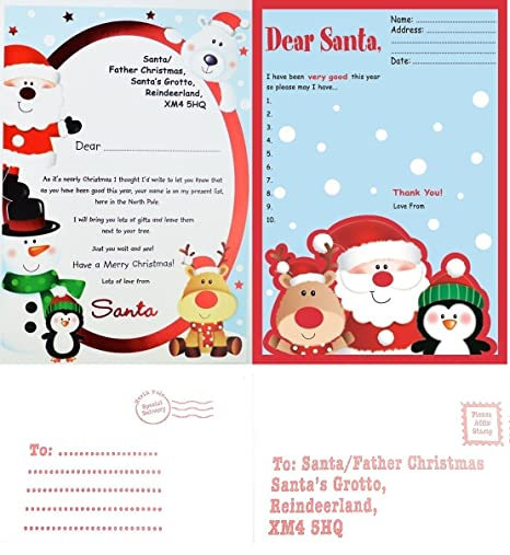 father christmas wish list letter to santa reply with envelopes