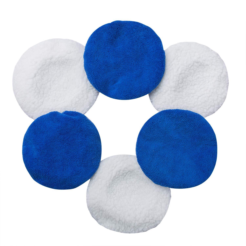 JIANFA Juego de 6 Almohadillas para Capó de pulidora de Coche para la Mayoría de los pulidores de Coches, Azul y Blanco JIANFA022