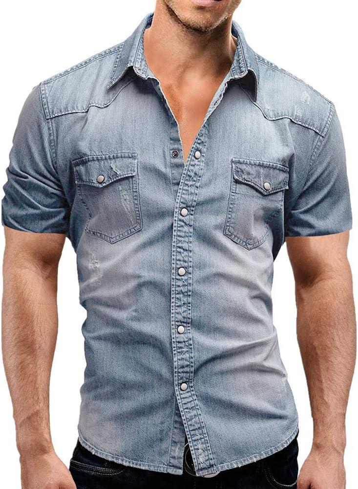 Jinyuan Camisa De Hombre De Moda Camisa De Mezclilla con BotóN Delgado para Hombre Casual Camisa De Manga Corta para Hombre con Bolsillos Azul Claro M: Amazon.es: Ropa y accesorios