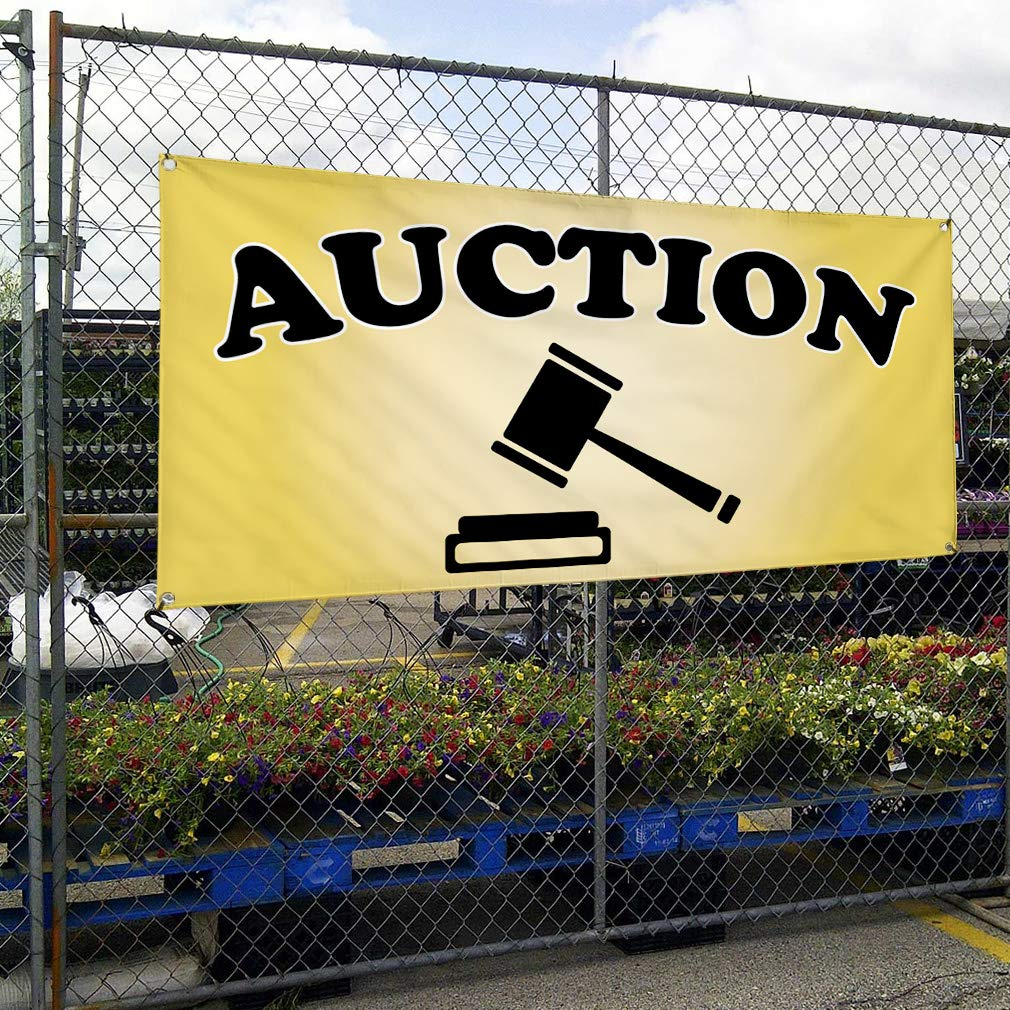 Multiple Sizes Available Vinyl Banner Sign Auction #1 Style I Business Auction Marketing Advertising Yellow 44inx110in 8 Grommets One Banner