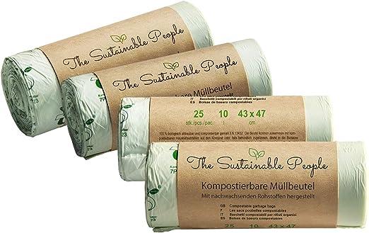 TSP Bolsas para basura organica, 10 litros - 100 bolsas seguras y ...