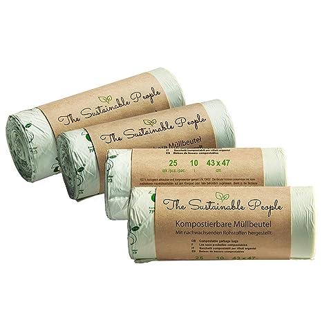 TSP Bolsas para basura organica, 10 litros - 100 bolsas de residuos seguras - certificada OK Compost HOME - 100% Compostable y biodegradable - Bolsas ...