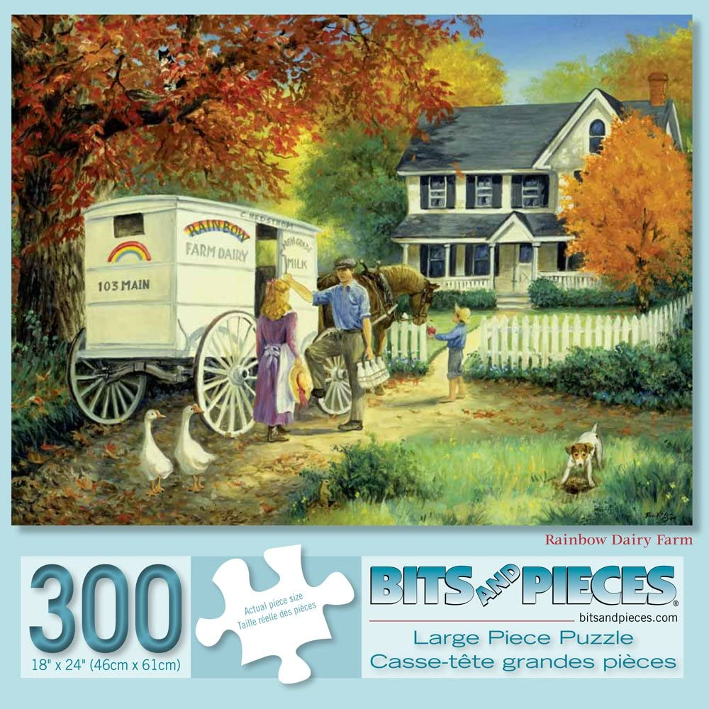 300 Large Piece Jigsaw Puzzle for Adults Bits and Pieces Rainbow Dairy Farm 300 pc Fall Scene Jigsaw by Artist Linda Picken
