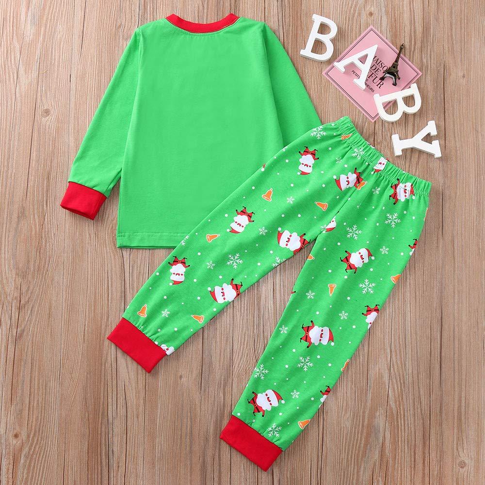 Baby Girl Boy Clothes Christmas 2Pcs Infant Xmas Santa Print Tops+Pants Set