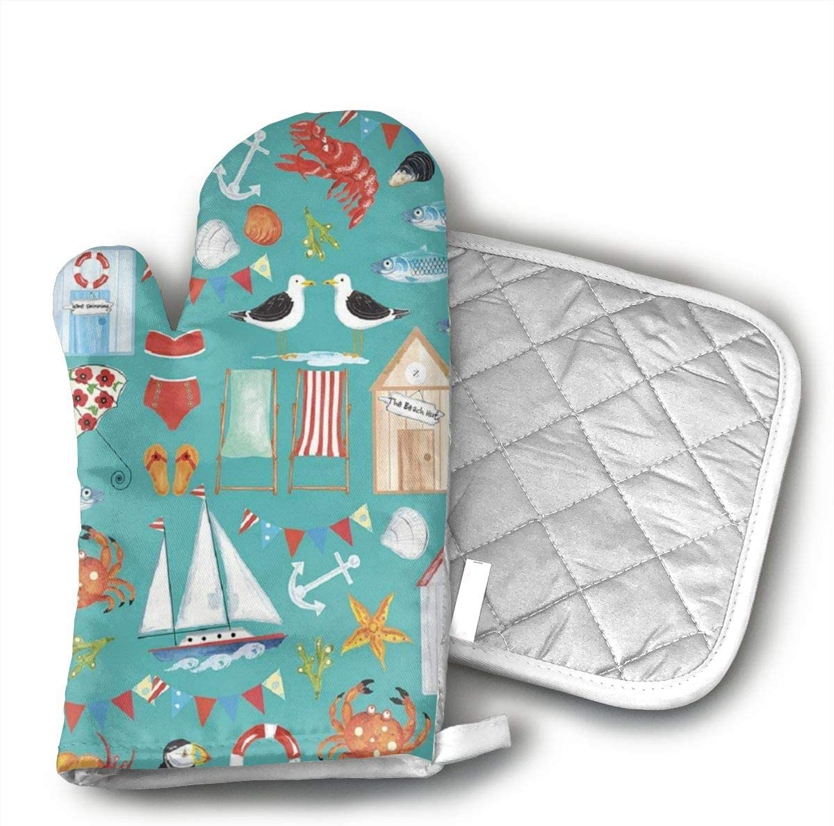 HGUIDHG Beachy Summer Oven Mitts+Insulated Square Mat,Heat Resistant Kitchen Gloves Soft Insulated Deep Pockets, Non-Slip Handles