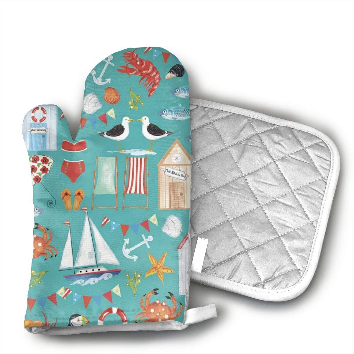 JFNNRUOP Beachy Summer Oven Mitts,with Potholders Oven Gloves,Insulated Quilted Cotton Potholders