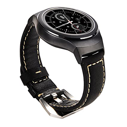 Maxjoy for Gear S2 Bands - Genuine Leather Watch Band Replacement Wristband Small/Large Strap with Stainless Steel Clasp & Adapters for Samsung Gear ...