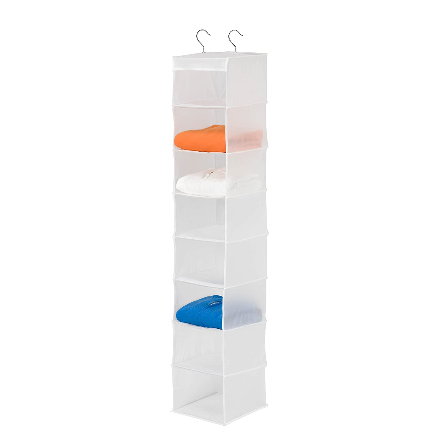 Honey-Can-Do SFT-01426 8-Shelf PEVA Hanging Organizer, white Honey-Can-Do International