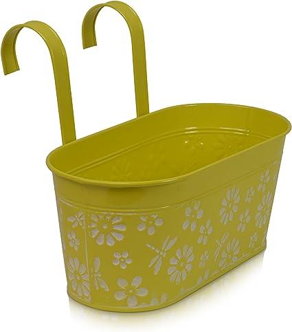 Chiccie Metall Blumentopf Hangend Gelb 33cm Lange Pflanztopf Oval Amazon De Garten