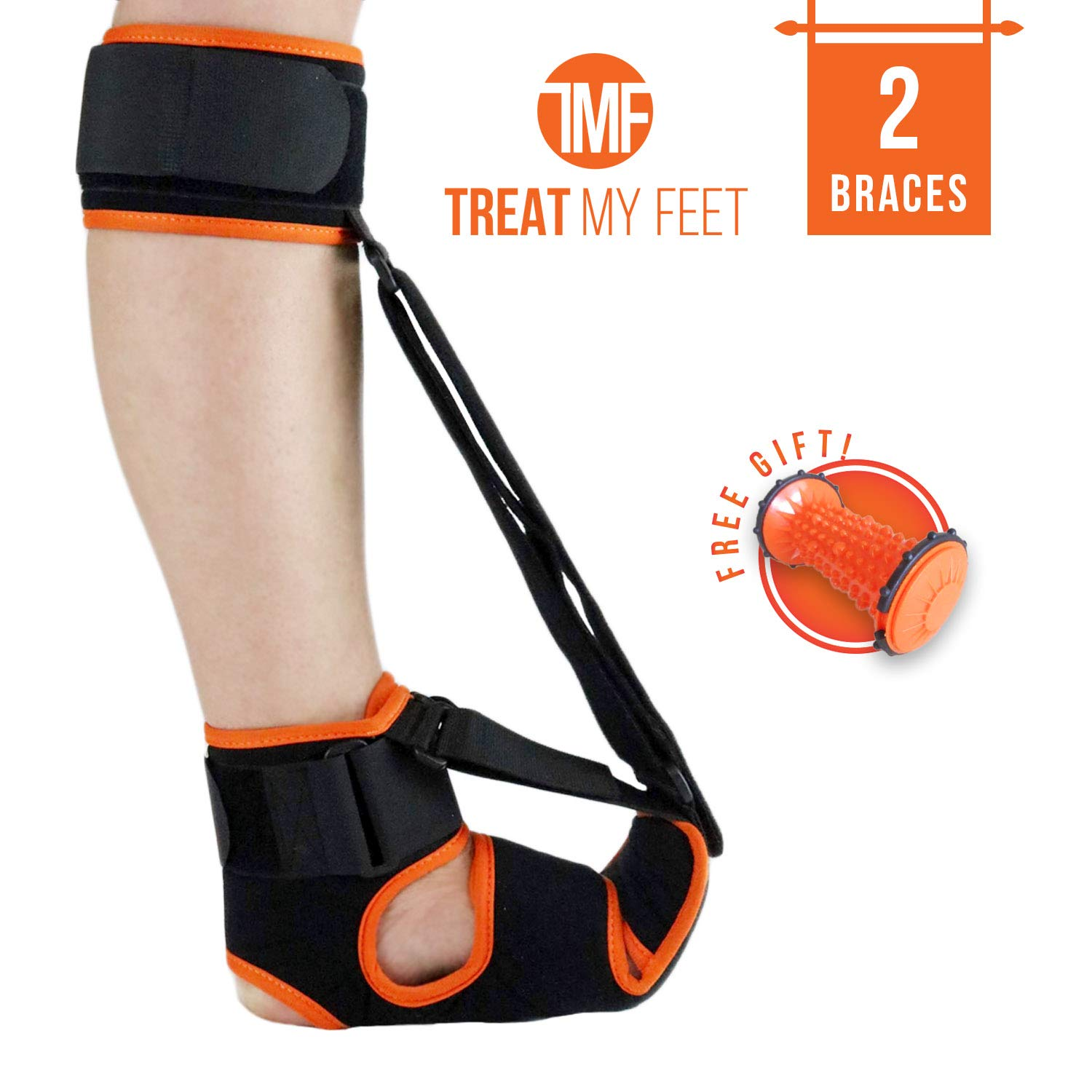 2 Pack Plantar Fasciitis Night Splint - Premium, Breathable, Comfy Plantar Fasciitis Support with Advanced Stretching Mechanism - Great Feet Orthotics Support for Achilles Tendonitis, Drop Foot & Pain by Treat My Feet