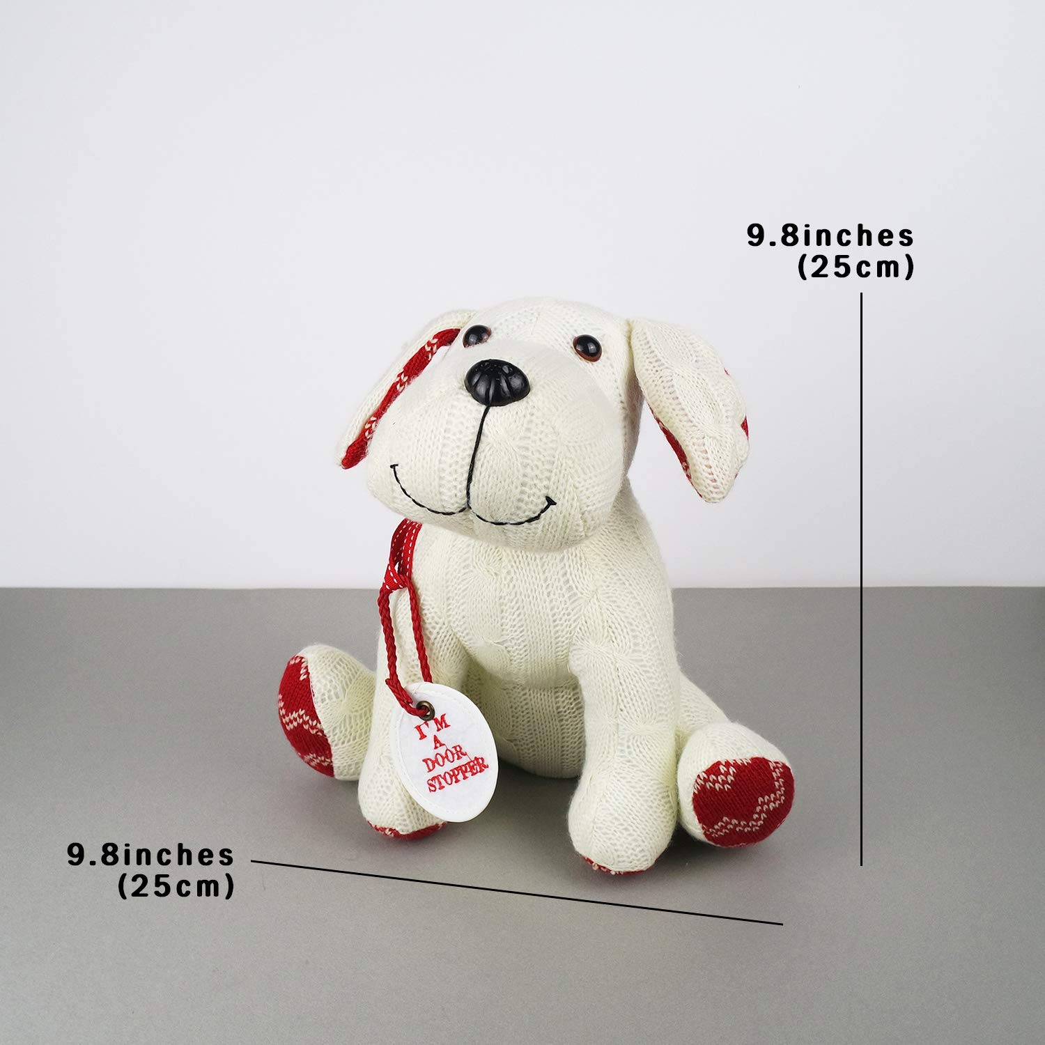 Stuffed Animal White Dog Door Stopper 1.73lb Home Decor Cable Knit Pattern by dwelling (Image #8)