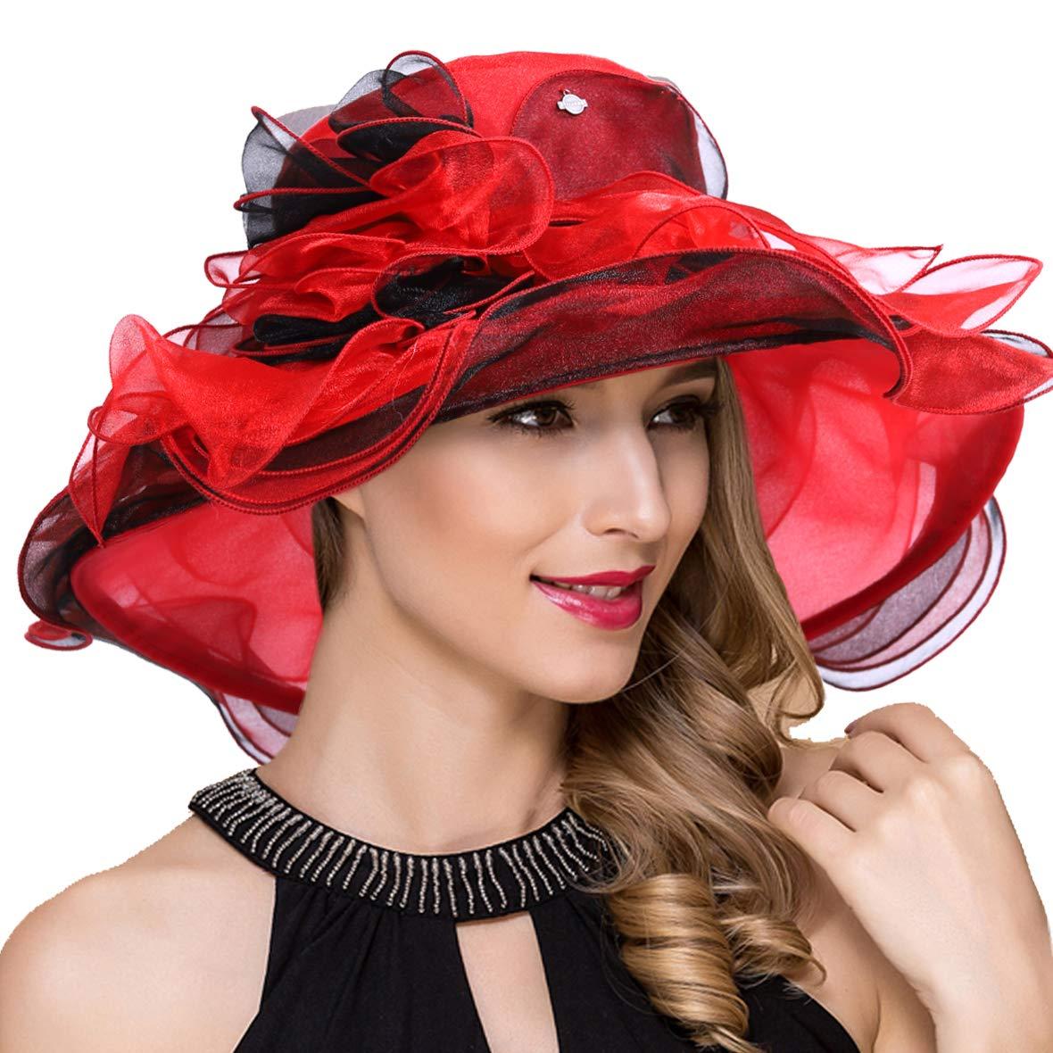 S614red Ruphedy Lady Organza Derby Church Dress Fascinator Wide Brim Bridal Wedding Tea Party Hats S056
