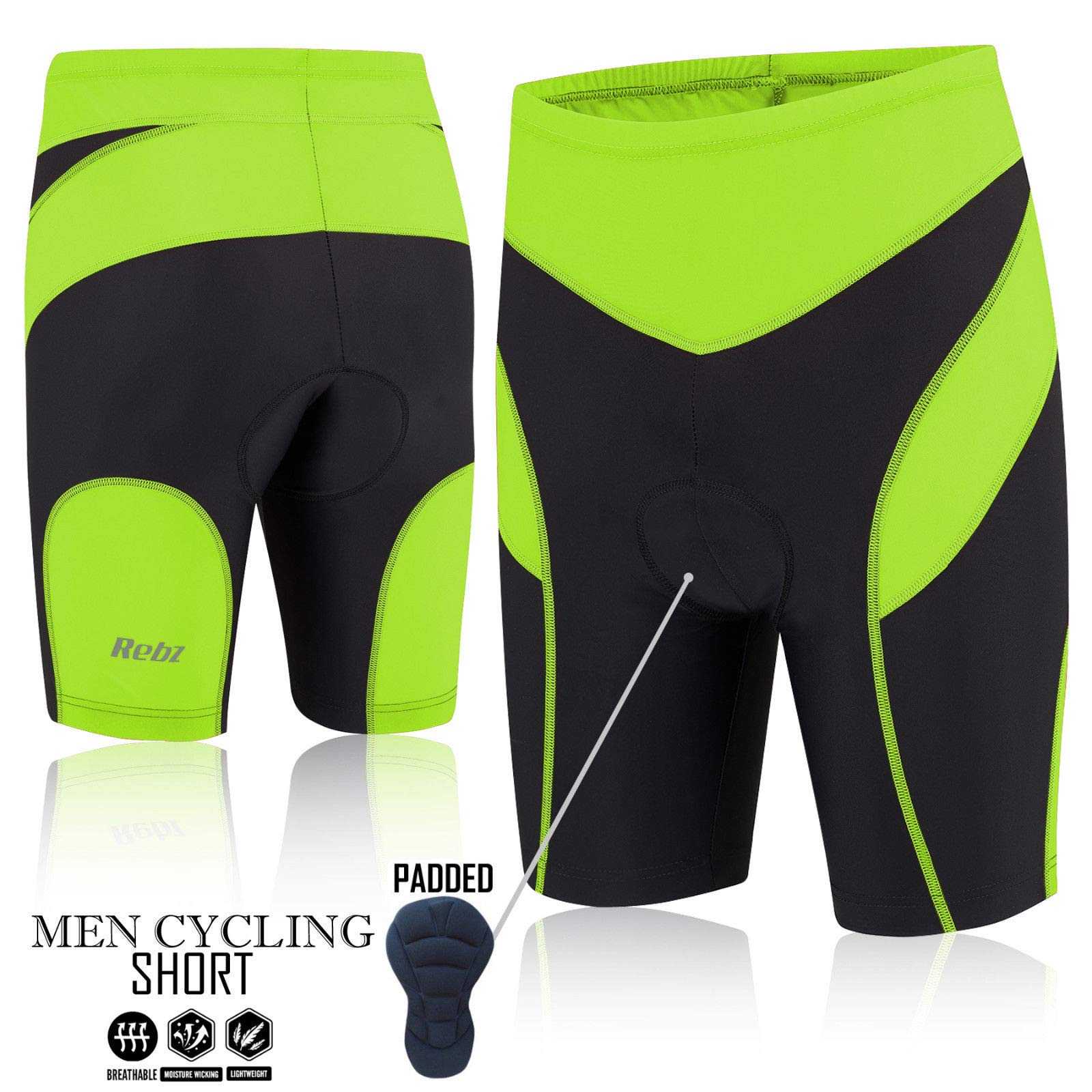 REBZ Mens Performance Cycling Bib Shorts Coolmax Padded Bicycle Short