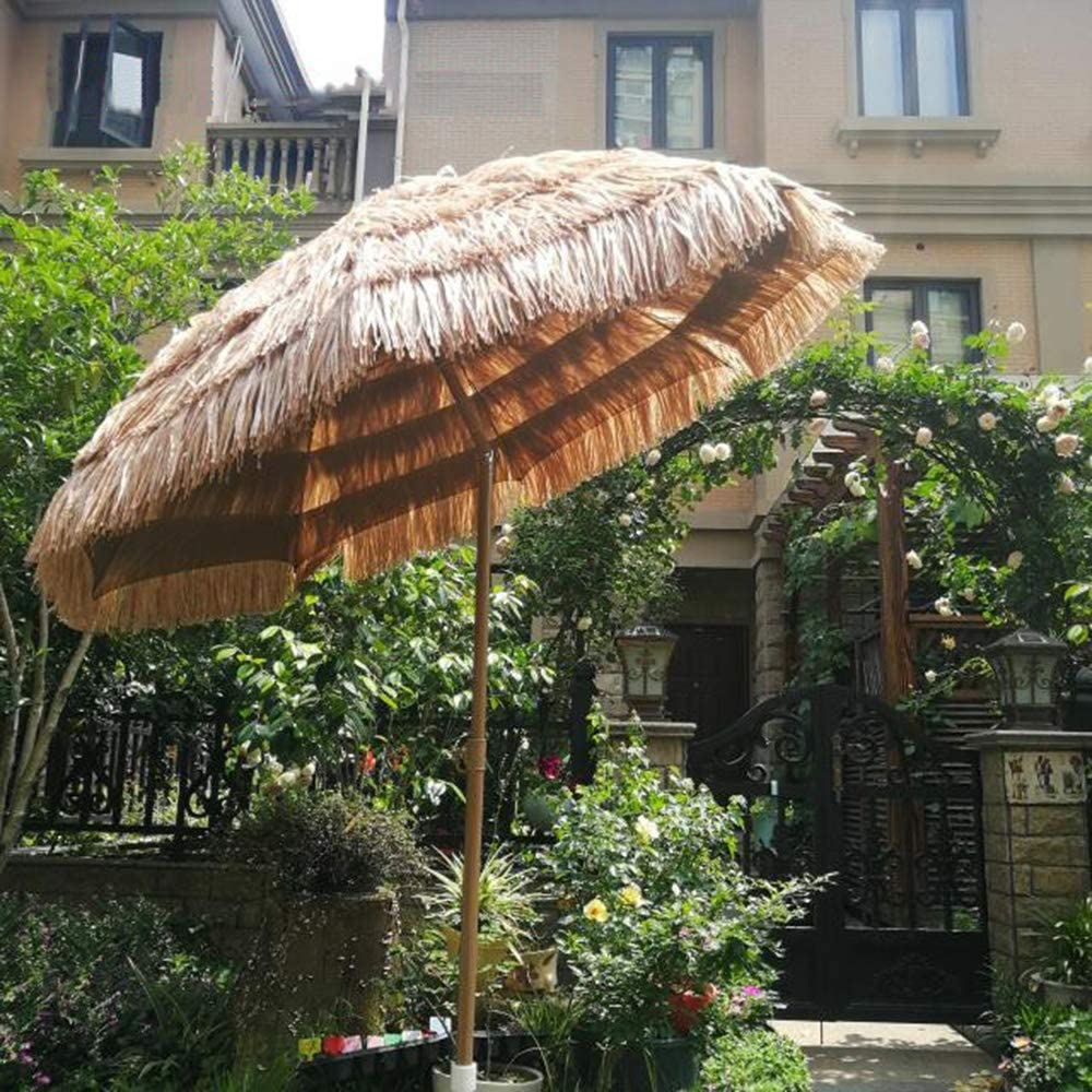 Parasol Sombrilla De Jardín De 2 M Sombrilla De Paja, Sombrilla De Hawaii Se Puede Inclinar, Adecuado para Paraguas Mesa del Patio Playa, Color Natural Sin La Base