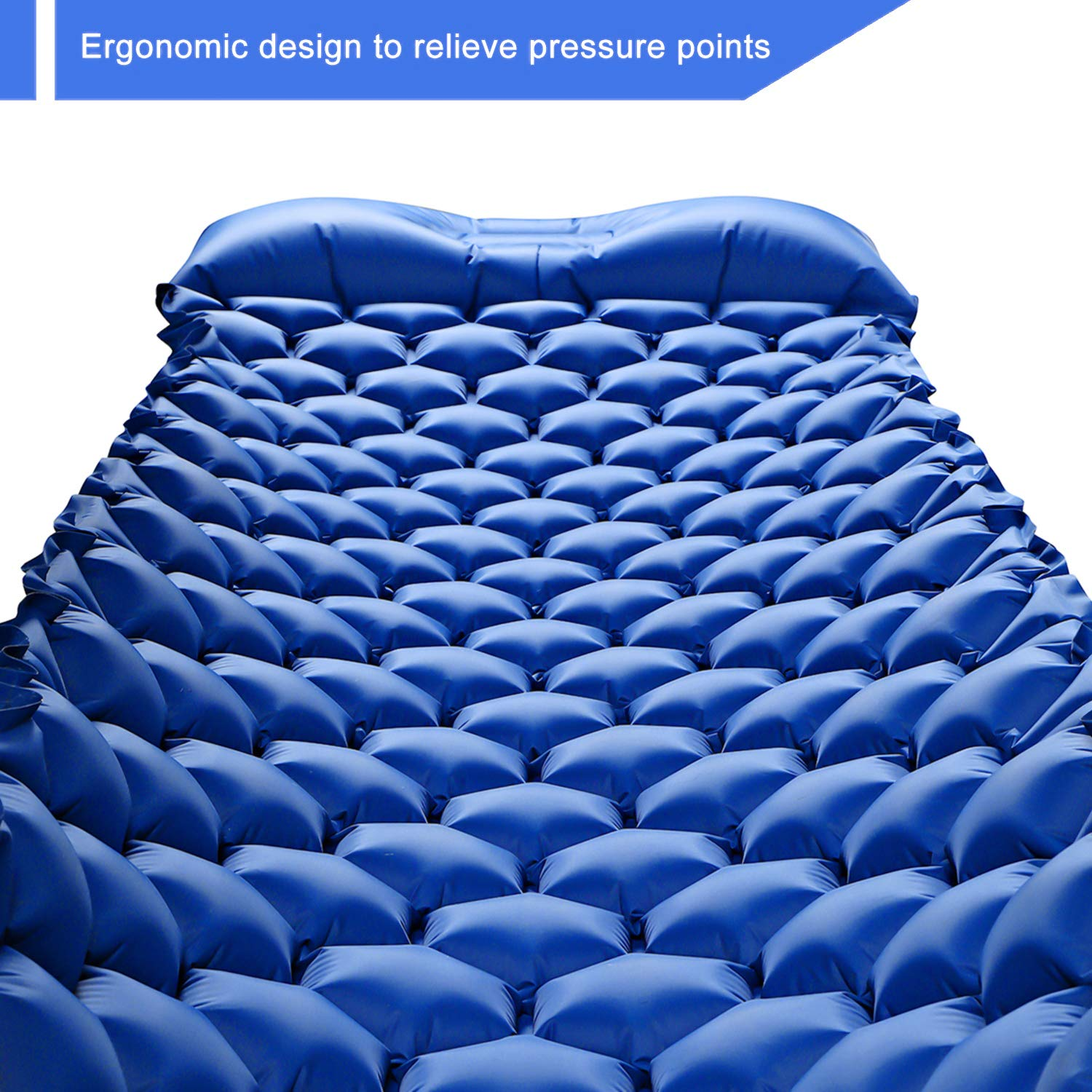 HULIONS Ultralight Sleeping Pad-Compact Inflatable Sleeping Mat with Pillow Air Camping Mattress for Backpacking Tenting Traveling and Hiking -Plus Larger Size